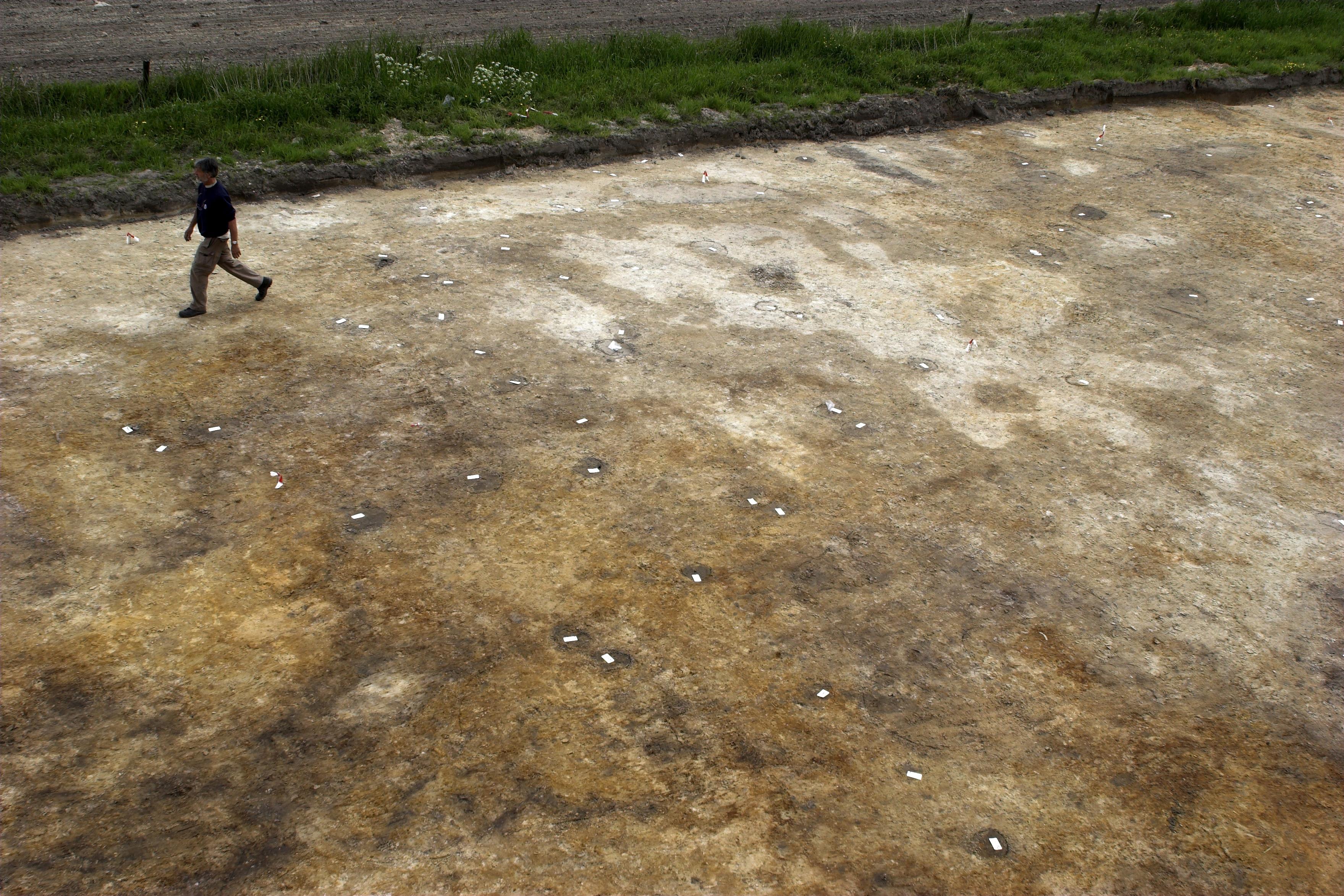 Opgraving Wieken Vinkenhoef - Opgravingsvlak met sporen