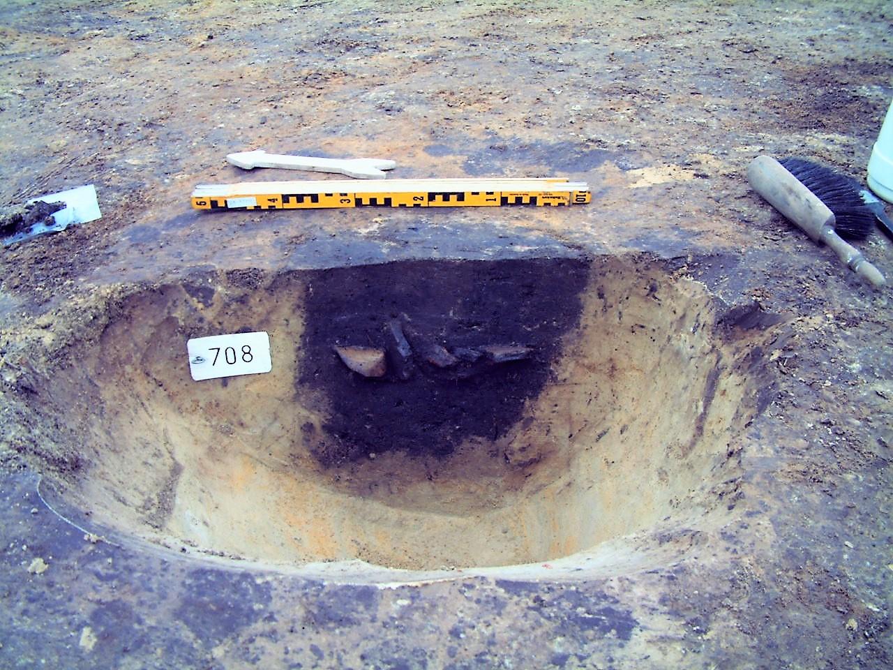 Opgraving Wieken Vinkenhoef - Paalspoor met scherven
